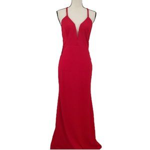 NWT! Lulus Red Plunge Gown, Size M